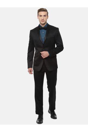 V Dot Men Black Single-Breasted Slim-Fit Formal Suit