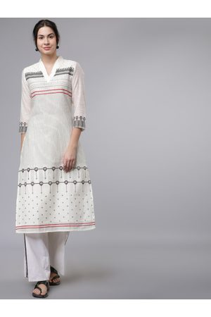 Vishudh Women Cream-Coloured & Grey Printed Kurta with Palazzos