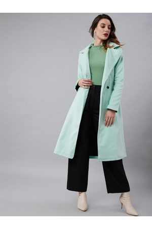 Athena Women Sea Green Solid Longline Wool Trench Coat With Fabric Belt