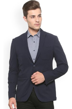 Louis Philippe Men Navy Blue Solid Slim-Fit Single-Breasted Blazer