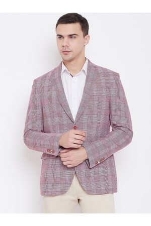 Blackberrys Men Pink & Off-White Slim Fit Self Checked Casual Blazer