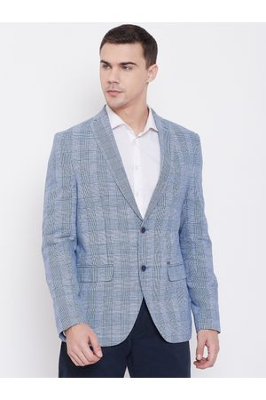 Blackberrys Men Blue Checked Slim Fit Checked Single-Breasted Blazer