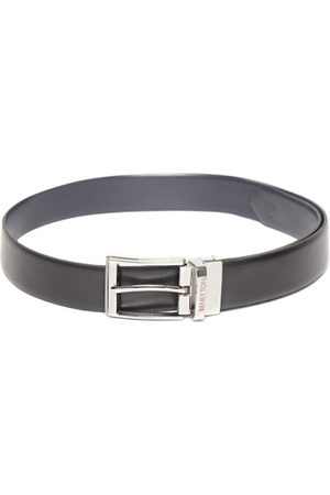 Benetton Men Black & Navy Blue Solid Reversible Leather Belt