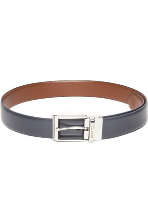 Benetton Men Navy Blue & Brown Solid Reversible Leather Belt