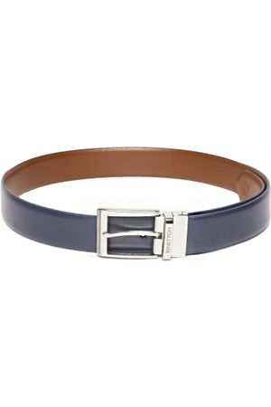 Benetton Men Navy Blue & Tan Brown Solid Reversible Leather Belt