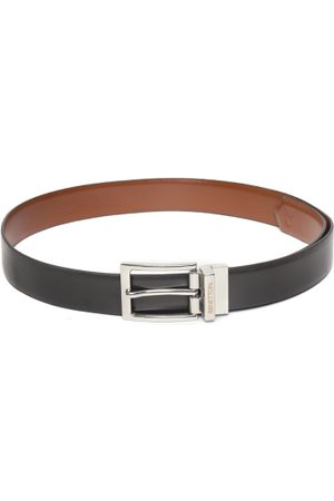 Benetton Men Brown & Black Solid Reversible Leather Belt