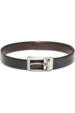 Benetton Men Black & Coffee Brown Solid Reversible Leather Belt