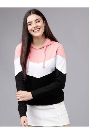 Tokyo Talkies Women Pink & White Colourblocked Hooded Sweatshirt