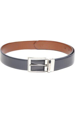 Benetton Men Navy Blue & Brown Solid Reversible Leather Belt