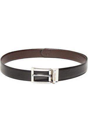 Benetton Men Black & Coffee Brown Reversible Leather Belt
