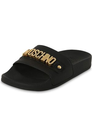Moschino Girls Sandals - Logoed Rubber & Leather Slide Sandals