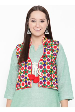Vastraa Fusion Women Off White & Red Embroidered Bolero Ethnic Jacket