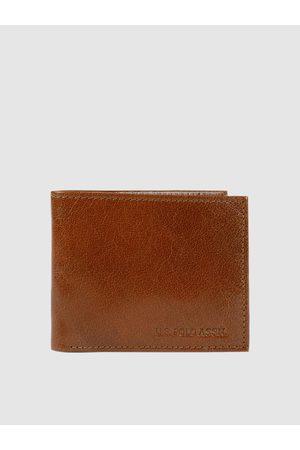 Ralph Lauren Men Tan Brown Solid Leather Two Fold Wallet
