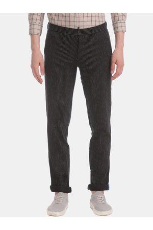 Arrow Men Black Slim Fit Striped Regular Trousers