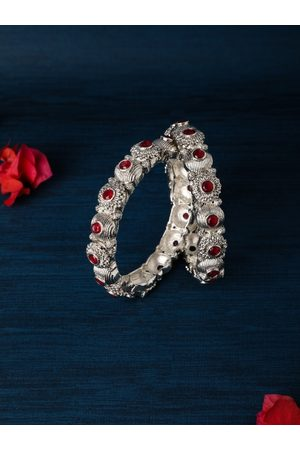AccessHer Women Set of 2 Silver-Plated Stone-Studded Bangles