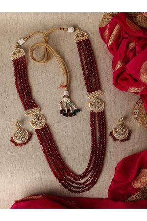 AccessHer Gold-Plated Pachi Kundan and Ruby -Studded Handcrafted Jadua Jewellery Set