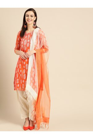 IMARA Women Orange & Beige Printed Kurta with Salwar & Dupatta