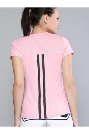 HRX Women Pink Solid Rapid Dry Slim Fit Training Tshirt