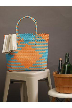 Chumbak Blue & Orange Self Design Tote Bag