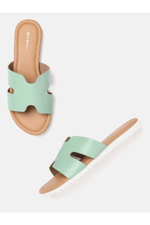Mast & Harbour Women Sea Green Solid Open Toe Flats