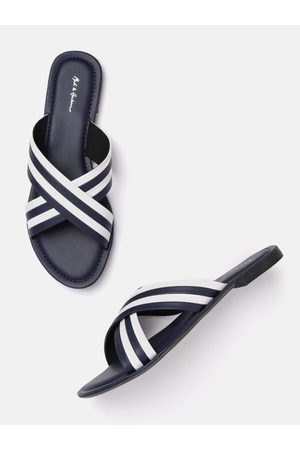 Mast & Harbour Women Navy Blue & White Striped Open Toe Flats