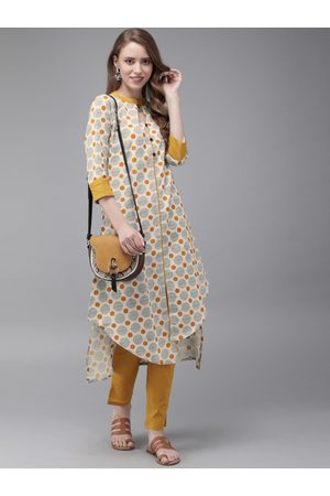 Anouk Women Beige & Mustard Yellow Printed Kurta with Trousers