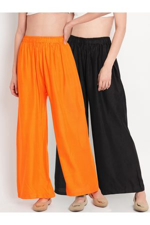 Tag 7 Women Pack Of 2 Black & Orange Solid Flared Palazzos