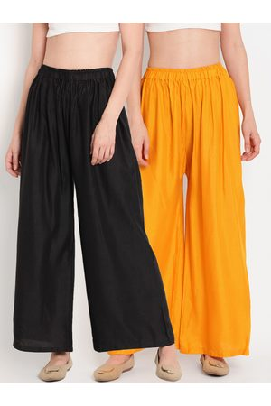 Tag 7 Women Set of 2 Black & Yellow Solid Flared Palazzos