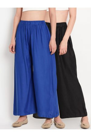 Tag 7 Women Pack Of 2 Black & Blue Solid Flared Palazzos