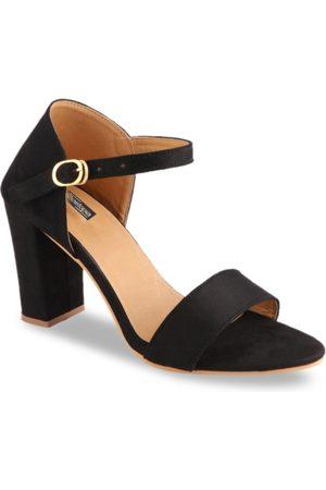 Shoetopia Women Black Solid Suede Heels