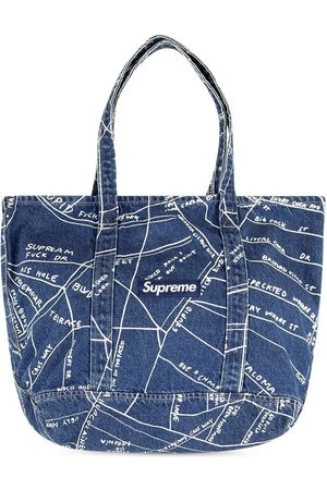 Supreme Women Handbags - Gonz Map denim tote