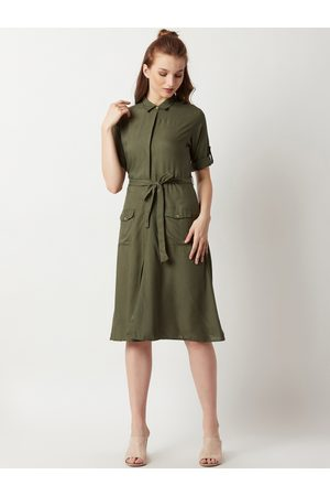 Miss Chase Women Olive Green Solid Shirt Dress