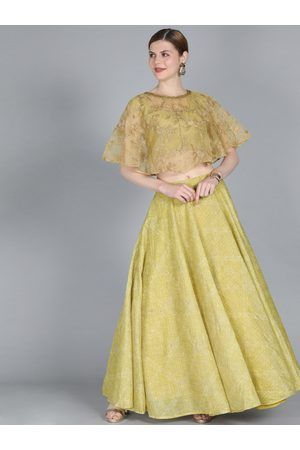 Bollywood Vogue Olive Green Embroidered Made to Measure Lehenga with Blouse