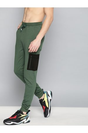 HARVARD Men Olive Green Solid Joggers