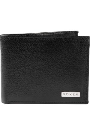 Boxer Men Black Solid Leather Two Fold Wallet
