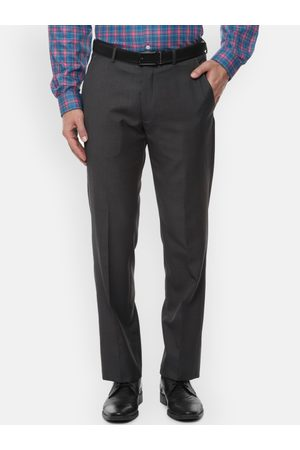 Louis Philippe Men Charcoal Black Regular Fit Solid Formal Trousers