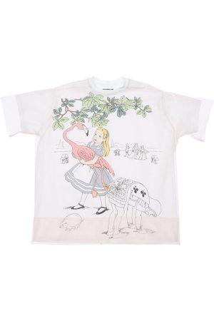 SCRAMBLED-EGO Girls Short Sleeve - Alice Print Jersey T-shirt W/ Tulle