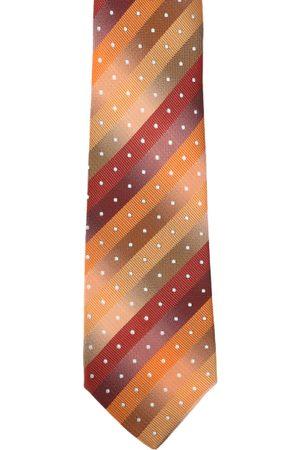 Calvadoss Men Mustard Yellow & Maroon Striped Broad Tie