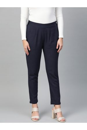Yash Gallery Women Navy Blue Regular Fit Solid Trousers