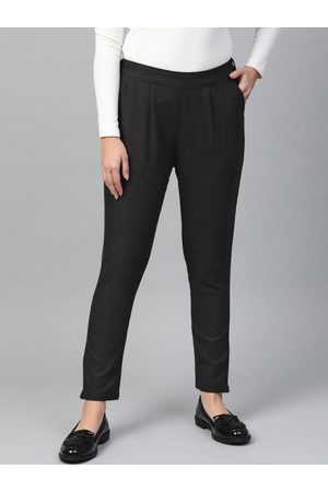 Yash Gallery Women Black Regular Fit Solid Trousers