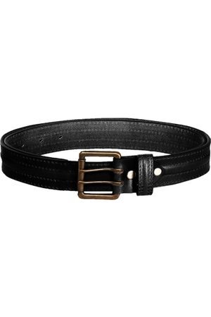 SCHARF Men Black Solid Genuine Leather Belt