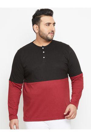 Bigbanana Plus Size Men Black Colourblocked Henley Neck T-shirt