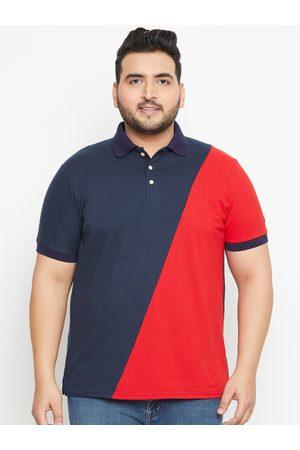 Bigbanana Plus Size Men Navy Blue Colourblocked Polo Collar T-shirt