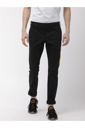 Tommy Hilfiger Men Black Regular Fit Solid Side Strip Detail Chinos
