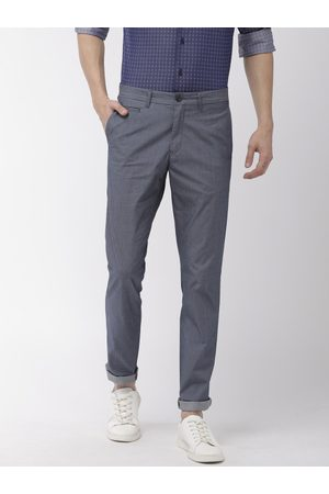 Tommy Hilfiger Men Blue Slim Fit Solid Regular Trousers