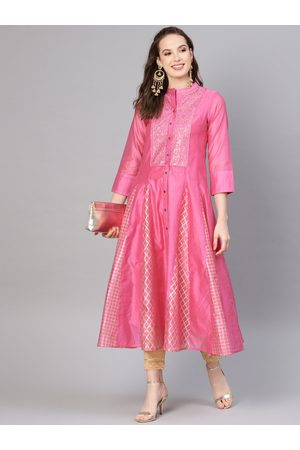 Juniper Women Kurtas - Women Pink & Golden Foil Printed Layered Anarkali Kurta