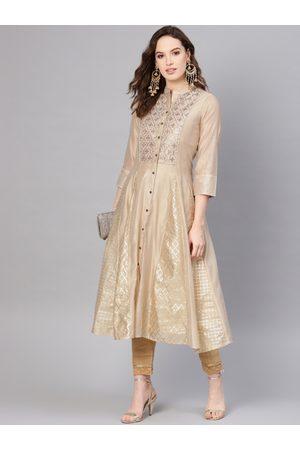 Juniper Women Beige & Golden Foil Print Layered Anarkali Kurta