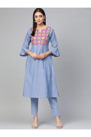 Bhama Couture Women Blue Yoke Design Chambray Kurta with Trousers