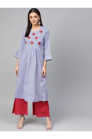 Bhama Couture Women Blue & Red Yoke Design Chambray Kurta with Palazzos