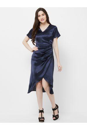 MISH Women Navy Blue Solid Wrap Dress